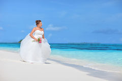 Bride watching towards the see on an exotic beach Stock Photography