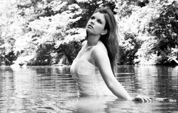Bride in Water, black and white Royalty Free Stock Images