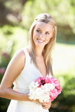 Bride Wearing Dress Holding Bouqet At Wedding Stock Images