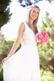 Bride Wearing Dress Holding Bouqet At Wedding Royalty Free Stock Photography