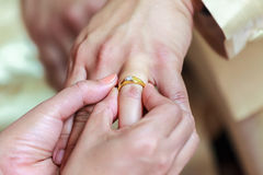 Bride wearing ring on groom's finger Stock Images