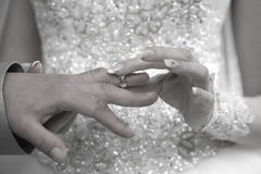 Bride is wearing a ring on the hand of the groom Royalty Free Stock Photo