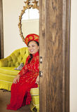 Bride wearing Vietnamese Ao Dai Royalty Free Stock Photos