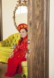 Bride wearing Vietnamese Ao Dai Royalty Free Stock Photos
