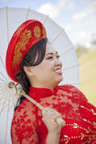 Bride wearing Vietnamese Ao Dai Royalty Free Stock Image
