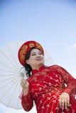 Bride wearing Vietnamese Ao Dai Stock Photo
