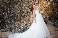 Bride wearing wedding dress Stock Photography