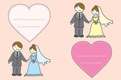 Bride wearing wedding dress and the groom wearing a suit and Hea. Rt .  on background.Vector illustration Stock Images