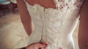 Bride wearing wedding dress. stock video