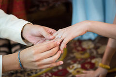 Bride wearing a wedding ring for her groom Stock Photos