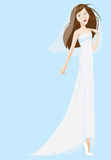 Bride Wearing White Dress And Veil Royalty Free Stock Images