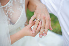 Bride wears a gold wedding ring on the finger of the groom Royalty Free Stock Photo