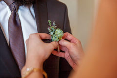 The bride wears a groom boutonniere Royalty Free Stock Photography