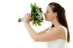 Bride with wedding bouquet Royalty Free Stock Images