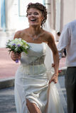 Bride with wedding bouquet. #2. Laughing bride with wedding bouquet. #2 royalty free stock photos