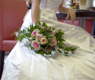 Bride and wedding bouquet Stock Photos