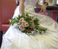 Bride and wedding bouquet stock photos