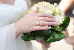 Bride and wedding bouquet Royalty Free Stock Photos