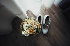 Bride wedding bouquet stock image