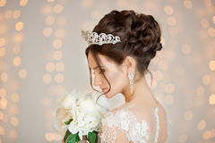Bride. Wedding. The bride in a short dress with lace in the crow Royalty Free Stock Photo