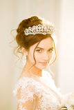 Bride. Wedding. The bride in a short dress with lace in the crow Stock Images