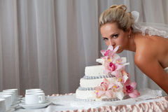 Bride and a wedding cake Stock Photo