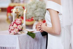 Bride during the wedding ceremony Royalty Free Stock Photo
