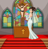 Bride at wedding in the church. Illustration Stock Photos