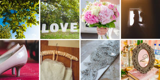 Bride Wedding details. Bride. Collection of wedding details. Close-up image view Royalty Free Stock Images