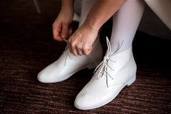 Bride wedding details - wedding shoes as a backgrond stock image