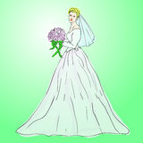 Bride in wedding dress. White with bouquet Stock Photos