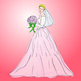 Bride in wedding dress. White with bouquet Royalty Free Stock Photo
