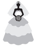 Bride in wedding dress and bouquet. Vector illustrations of bride in wedding dress and bouquet Stock Photos