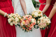 Bride in wedding dress and bridesmaids coral color dressing hold Stock Photos