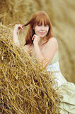 Bride in wedding dress in a field Stock Photos