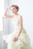 Bride in wedding dress and staircase Royalty Free Stock Image
