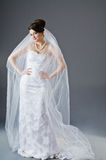 Bride in wedding dress in studio Stock Photo