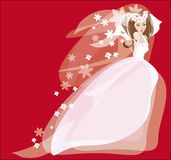 Bride in wedding dress. Vector graphic image with bride in wedding dress on red background Royalty Free Stock Photo