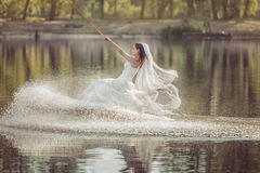 Bride in wedding dress on wakeboard. Bride in a wedding dress on a wakeboard slides on the lake Royalty Free Stock Images