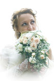 Bride in a wedding dress on a white Royalty Free Stock Photo