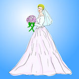 Bride in wedding dress white. With bouquet Stock Image