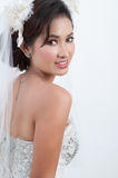 Bride With Wedding Dress Stock Images