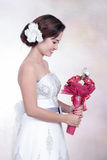 Bride With Wedding Dress Royalty Free Stock Photography