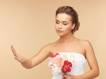 Bride with wedding or engagement ring stock images