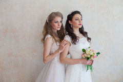 Bride and wedding flowers wedding bouquet girlfriend Royalty Free Stock Images