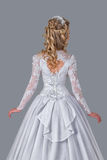 Bride in wedding gown rear view Royalty Free Stock Photo