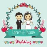Bride, Wedding, Groom, Cartoon Illustration. Cartoon of couple man and woman in wedding Royalty Free Stock Photos