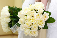 The bride at a wedding holding a bouquet of flowers. Royalty Free Stock Photo