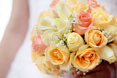 Bride with wedding rose bouquet Royalty Free Stock Photography