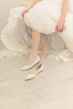 Bride in Wedding Shoe Stock Image